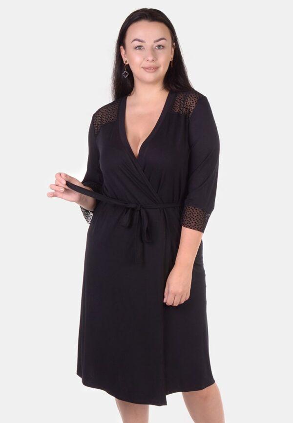 халат черный женский